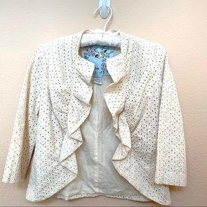 Tabitha Beige Eyelet Ruffle Jacket Blazer Sz 0